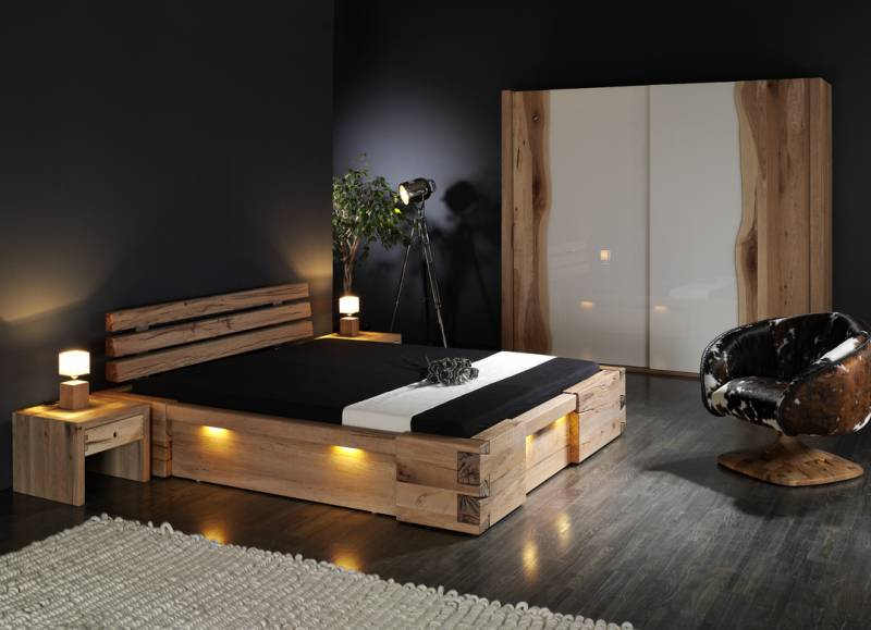 www moebel de betten massives wildeichenbett mit hohem kopfteil bett stuart betten m bel. Black Bedroom Furniture Sets. Home Design Ideas